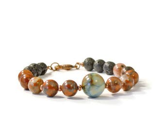 Aromatherapy Oil Diffuser Bracelet, Natural Lava Stones with Poppy Jasper and Impression Jasper