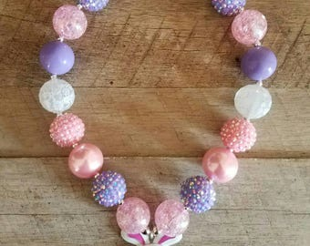 Easter Chunky Necklace, Bubblegum Bead Necklace, Chunky Beads, Baby Bubblegum Necklace, Easter Basket Gift, Easter Bunny Chunky Necklace