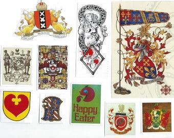 Heraldry Clip Art, Clipart, Collage Paper, Scrap Paper Pack, Paper Ephemera for Paper Arts, Collage, Scrapbooking, Decoupage PSS 3384