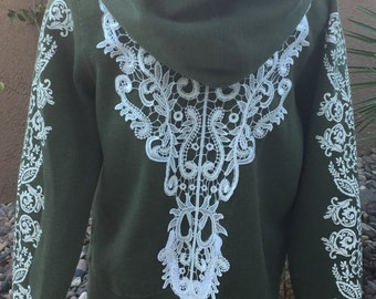 Mossimo XL Army green repurposed hoodie/doily details/one of a kind