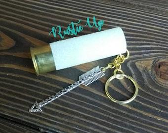 Glitter 12 Gauge Shotgun Shell Keychain with Arrow, rustic, key chain, Any Color