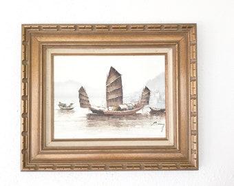 Vintage Chinese Junks Painting • Original nautical Oil Painting  P. Wong • Asian Boho Decor