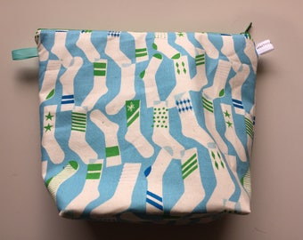 Socks Wedge Zippered Pouch Project Bag In Stock, Ready to Ship