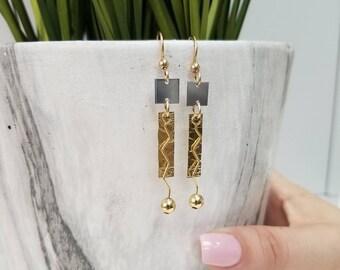 Gold & Silver Contemporary Metal Earrings, Statement Jewelry, Modern Drop Earrings, Holiday Gifts For Women - Busan Earrings by Jon Allen