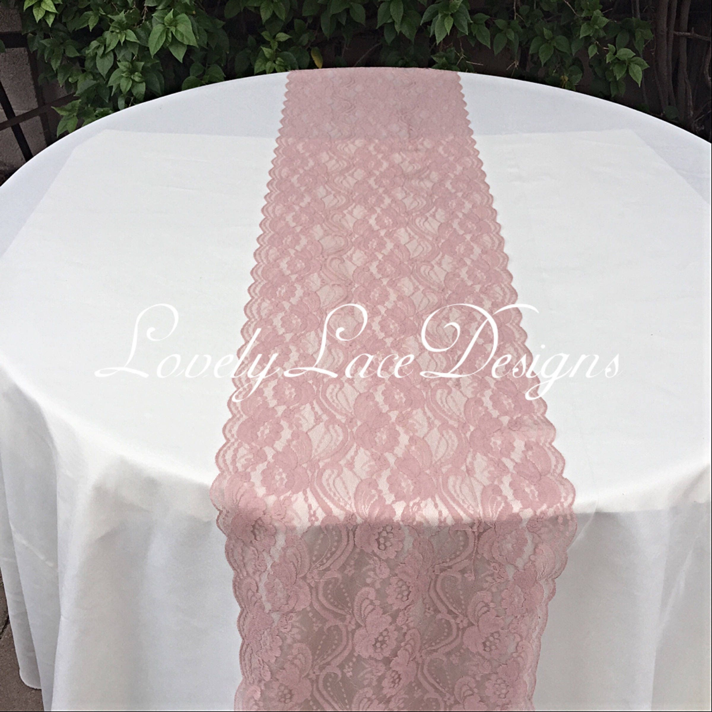 Fresh Dusty Rose/ Lace Table Runner/3ft-10ft long x 12wide/Lace Overlay  VD37