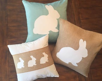 "20""x20"" Decorative Chenille Bunny Pillow/ Spring Throw Pillow/ Easter Decor/ Pastel Decorative Pillow"