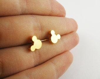 Gold Simple Mickey Stud Earrings