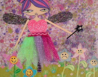 12 x 12 inch Mixed Media Original Painting - Not All Fairies...