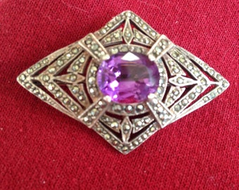 Amethyst and Marcasite Sterling Silver Brooch