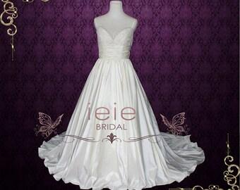 Empire Wedding Dress with Thin Straps V neck Lace Wedding Dress