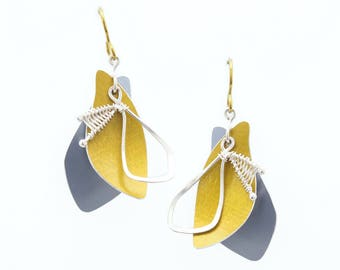 Sunbeam Shadows Earrings, made from Yellow and Grey Anodized Aluminum