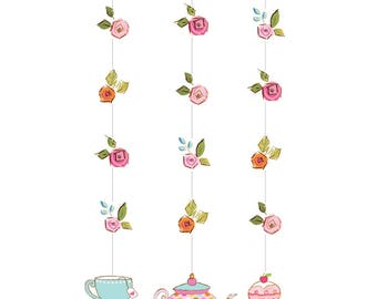 Tea Time Hanging Cutout Decorations [3pc] Birthday Party Decorations Supplies Backdrop