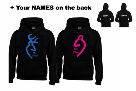 INFINITY Buck and Doe Hoodies with your NAMES AKJSlq9I