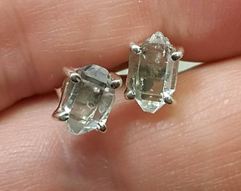 Tiny Herkimer diamond earrings. Genuine Herkimer quartz studs. Herkimer diamond studs. stud earrings. quartz earrings. metaphysical jewelry
