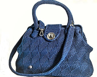 Handbag//blue///Doctor bag crochet bag/lanyard//Made in Italy//crochet bag