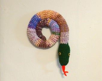 Door Snake, Door Snake Mixed Colors, Crochet Draft Dodger Filled, Door Draft Snake, Window Sitter, Stuffed Snake, 40 inches