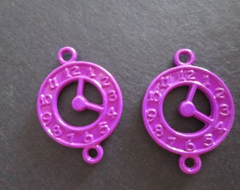 2 connectors 25 x 18 mm in violet metal clock