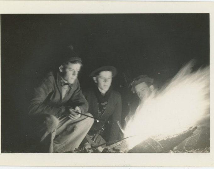 Campfire, 1938: Vintage Snapshot Photo [84662]