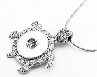 Silver turtle necklace Snap button jewelry
