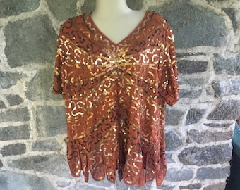 Vintage 2X Sequined Top with Dripping Bottom