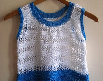 White and Blue bicolor woven Crop blouse