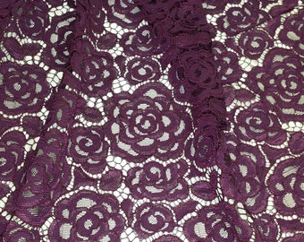 Dark Purple Lace Fabric, French Lace, Embroidered lace, Wedding Lace, Bridal lace, Evening dress lace Lingerie Lace Alencon Lace L43202