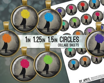 """Girl with Umbrella 1"""" 1.25"""" and 1.5 Inch Circles Collage Sheet for Glass and   Resin Pendants Bottle Caps Digital Download JPG"""