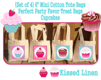 """Cupcake Birthday Party Treat Favor Gift Bags Mini 6""""x6"""" Natural Totes Children Kids Girls Boys Birthday Party Baby Shower Set of 4"""