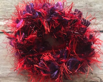Crochet Hair Scrunchie Ties *Fuzzy Fur Boa* Elastic Accessory