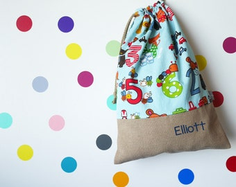 Customizable drawstring pouch - cuddly toy bag - name - kindergarten - numbers - animals - school - blue - multicolor - slippers or toys bag