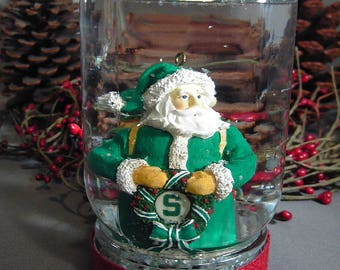 Green Santa Holiday Snow Globe