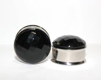 """Black Crystal Plugs 7/8"""" 22mm"""