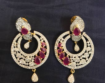 Indian Earrings | Bollywood | Ruby Earrings | Indian Wedding Jewelry |Statement Jewelry | Gold Jewelry |Bridal Jewelry | Gold Earrings |Ruby