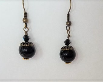 Earrings Black Glass & Antique Brass