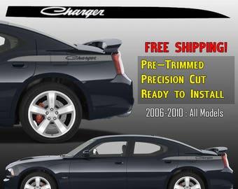 Dodge Charger Classic Vinyl Graphics Decals Stripe Kit - 2006 2010 SRT RT SXT