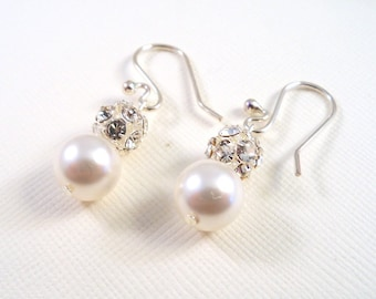 Bridal Earrings,  Rhinestone and Pearl, Jewelry for Bride, White Pearl, Ivory Pearl, Bridesmaid Earrings, Glitz Earrings, Pearl Earrings