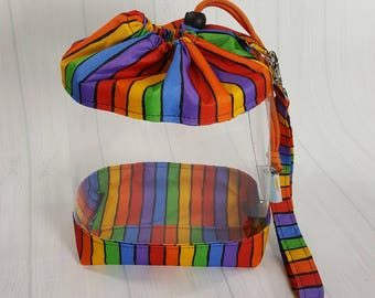 Small Clear Knitting Project Bag, Rainbow Stripes Bright, Clear Vinyl Bag, Sock Knitting Bag, Clear window drawstring project bag CVS0049