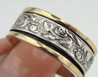 New Israel Handmade Weddings 925 Sterling Silver 9k yellow gold flowers Swivel Band / Ring size 9 (d r1508.1)