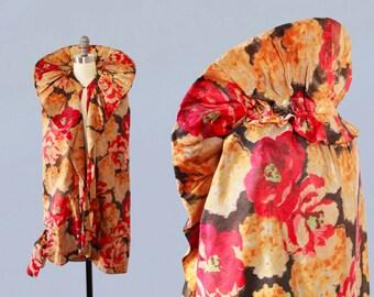 1920s Flapper Coat / 20s Floral Lame Cocoon Cape / MUSEUM / XS