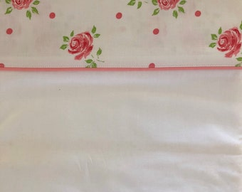 Cannon White and Pink Double Flat Rose Sheet // Vintage Pink Rose Floral Sheet // 1960's // With Original Packaging