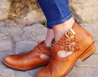 CUSTOM Leather Braided Boho Booties~Ankle Boots~Leather Booties~Tan Booties~Tan Boots~Fall Boots~Fall Booties~Western~Customizable~Hippie