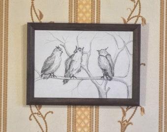 Original  Pencil Drawing Owls  Grafic Odessa Art