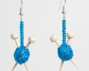 Knitting Needles and Ball of Wool Earrings - Sparkly Blue Yarn