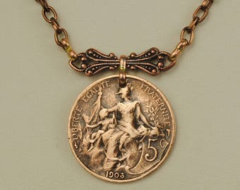 France Coin Necklace 1903