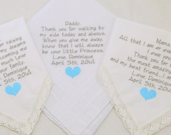 Set of 3 Mother in Law Gift Father of the Bride Gift Mother of the Bride Gift Embroidered  Wedding Handkerchiefs Personalized Hankerchiefs
