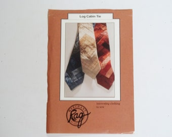 Vintage  Tie Pattern   Log Cabin Tie Pattern    Rag Merchant Pattern   Includes Tie Insides