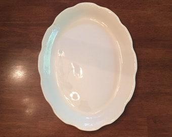 K T & K White Oval Platter