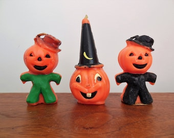Halloween Gurley Candles Three Jack O Lantern Pumpkin Head Men and Jack O Lantern with Witch Hat Gurley Candle Company USA