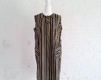 1960s Black Striped Shift Dress 60s Vintage Mod Yellow White Cotton Sundress Peter Pan Collar Large XL Summer Sporty Preppy Minimalist Dress