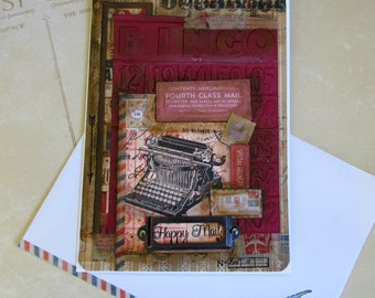 Handmade Vintage inspired postale Card, Bingo theme card, Vintage typewriter card, Any Occasion card, Secretary Day Card